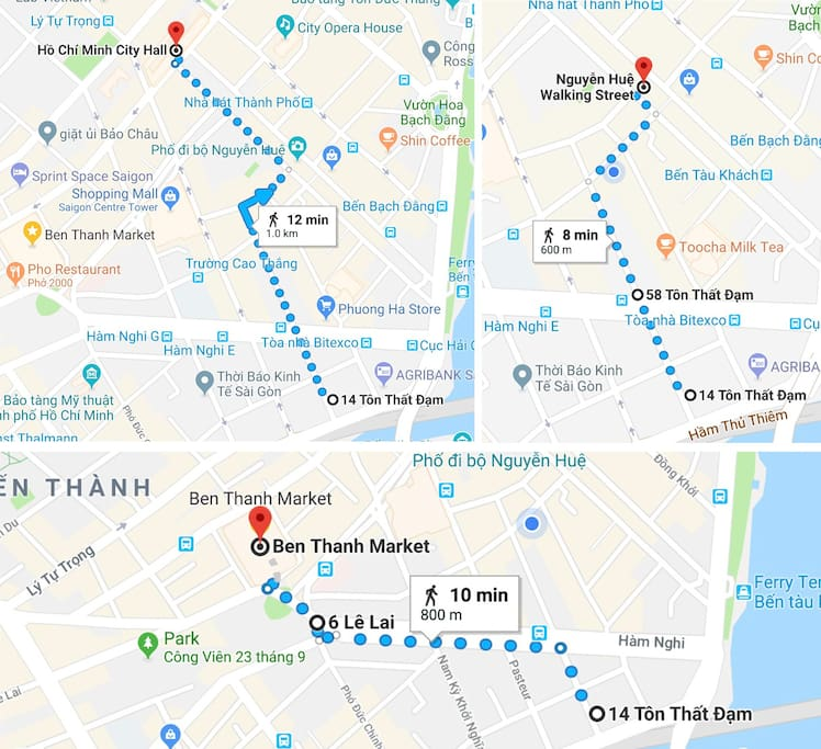 8 min walk to Nguyen Hue Walking Street • 10 min to Ben Thanh Market • 12 min to People's Committee Hall