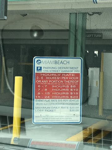 Parking garage rates (can be changed by the city for at anytime and for special events)