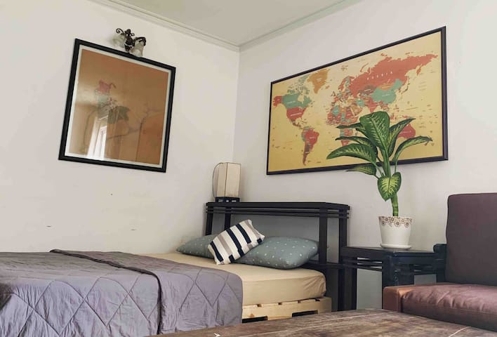 Cozy Indochina-style room with city view in D1