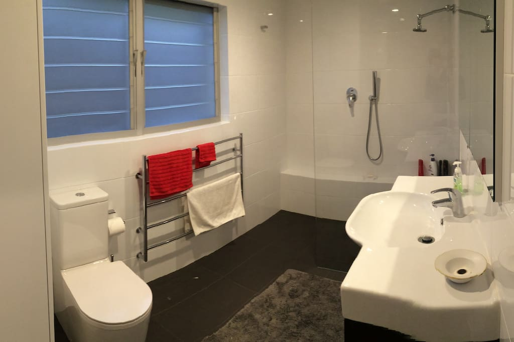 recenctly renovated bathroom with walk in shower