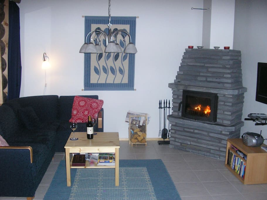 Relax by a cosy log fire