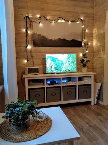 """""""Kammerset"""" is this part of the living room. There is a 32"""" TV and a Marshall Acton BT-speaker. Stream your favorites with the connected Chromecast, the Android TV-box or play games on the Nintendo Wii."""