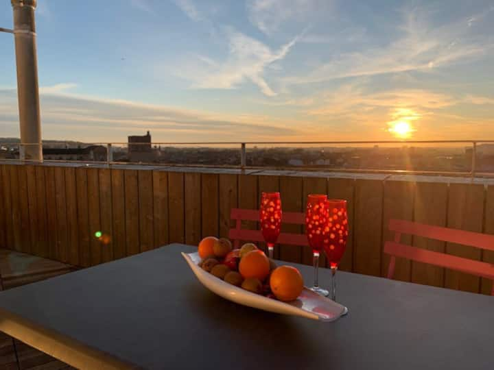 Appart rooftop centre ville terrasses panoramiques