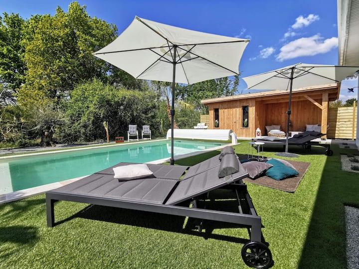 Villa avec piscine chauffée entre Médoc et Océan