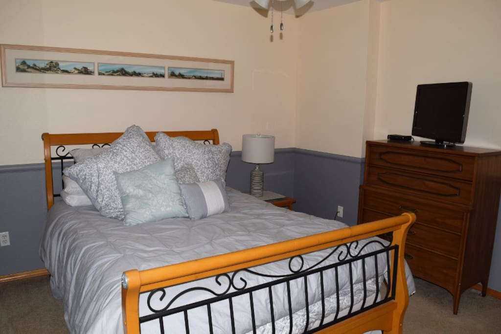 Bedroom with Dish Satellite Television