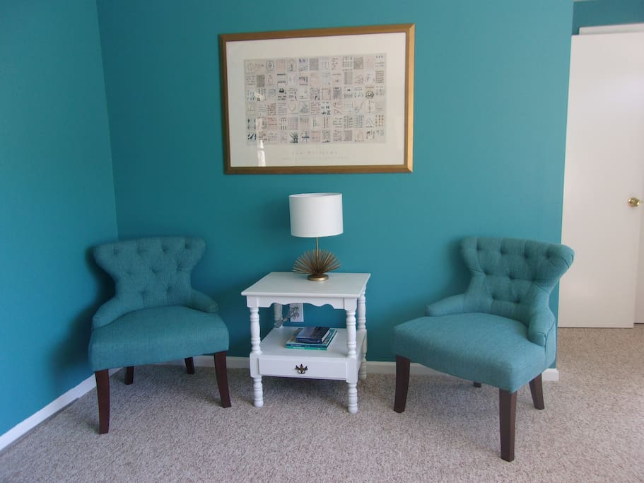 Enjoy a cup of coffee or a good book in our comfy seating area.