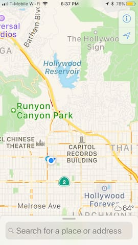 This is our location by the 101 freeway / major cross streets of Sunset boulevard and Highland avenue