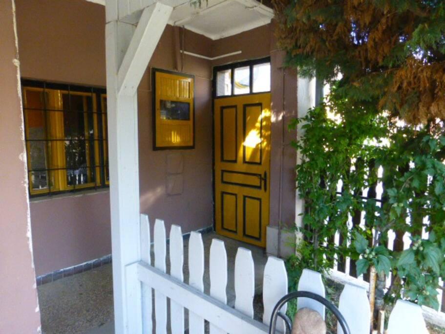 Entrance door. from high street to garden.