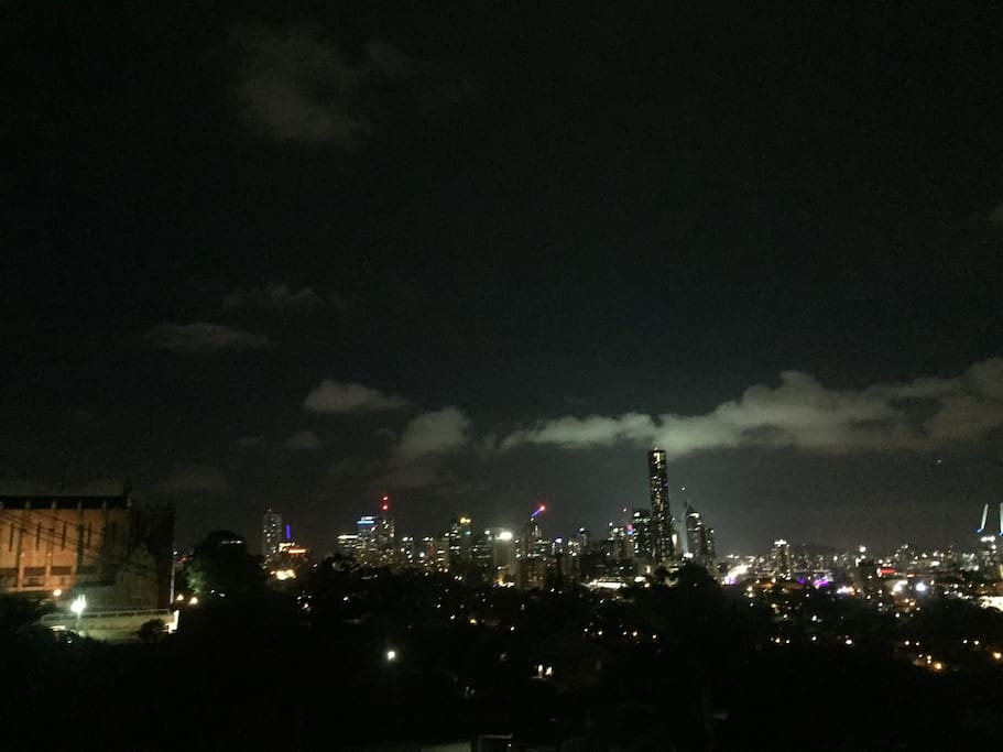 View from the balcony at night. One of the highest points in Brisbane