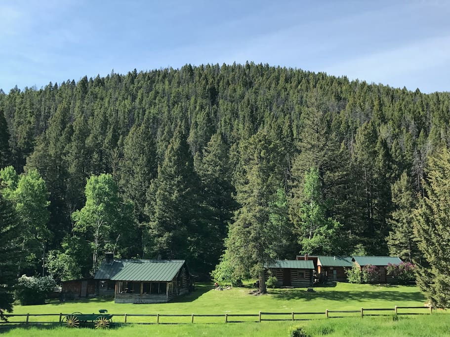 View of Lodge and cabins from meadow