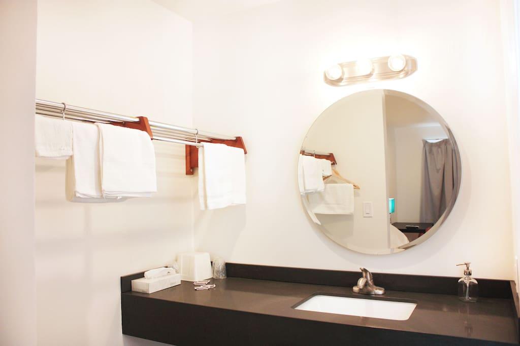 Bright Washroom Area w/ New Countertops