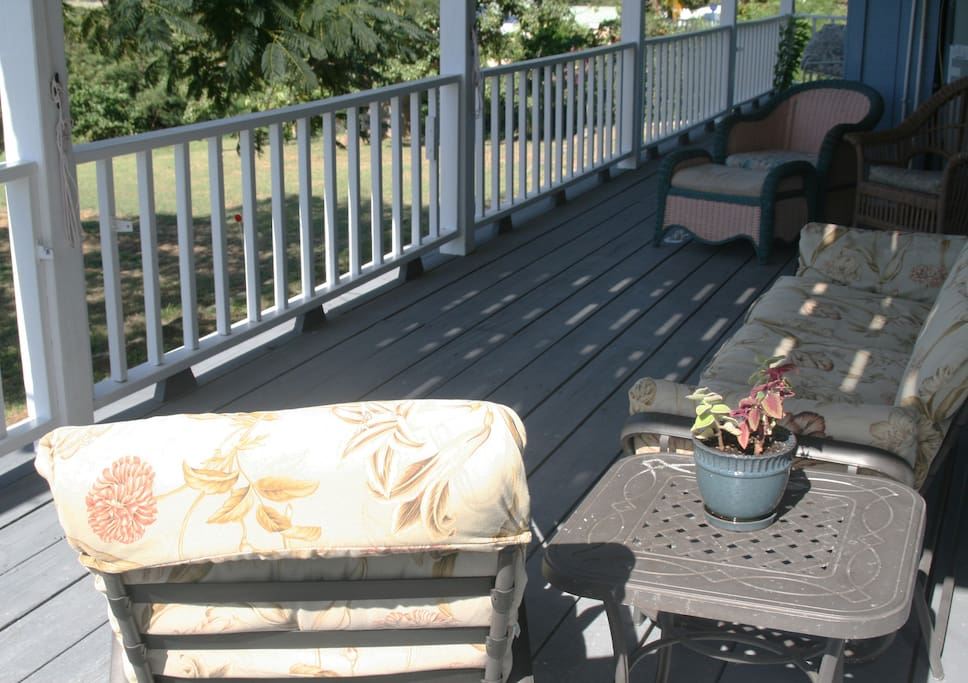 Shade from the hot sun on the covered deck.