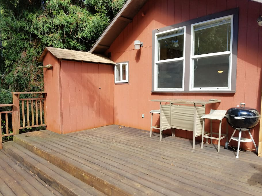 Deck includes barbecue and some seating