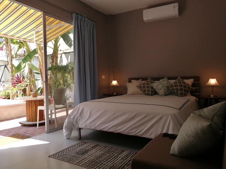 Comfy room, great location, come relax by the pool
