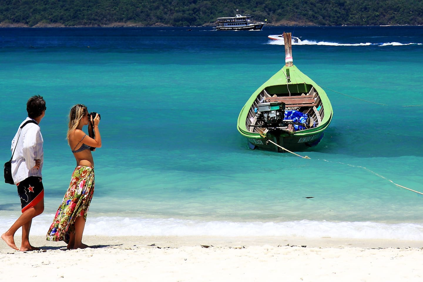 Island hopping to the nearby beaches is an exciting and fun experience.