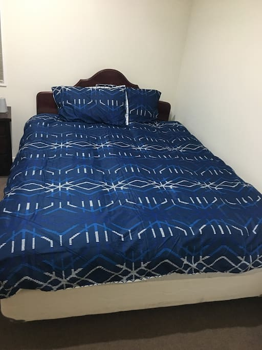 Double bed with electric Blanket, 2 pillows.