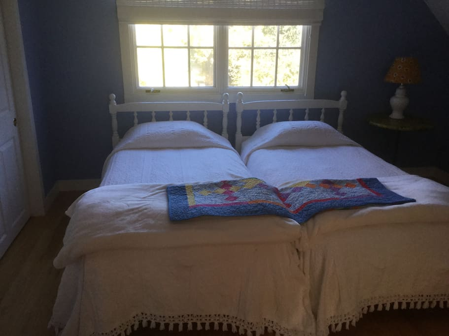 Twin beds with comfortable mattress in the bedroom