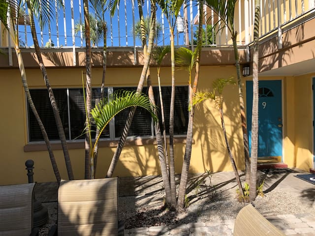 Unit #9.  Best unit in the building. Ground floor space, no units above.  Direct breeze flows from back to front making this the perfect space for those perfect winter days.  The laundry, a few steps away.  Step out to the Courtyard to enjoy outdoors