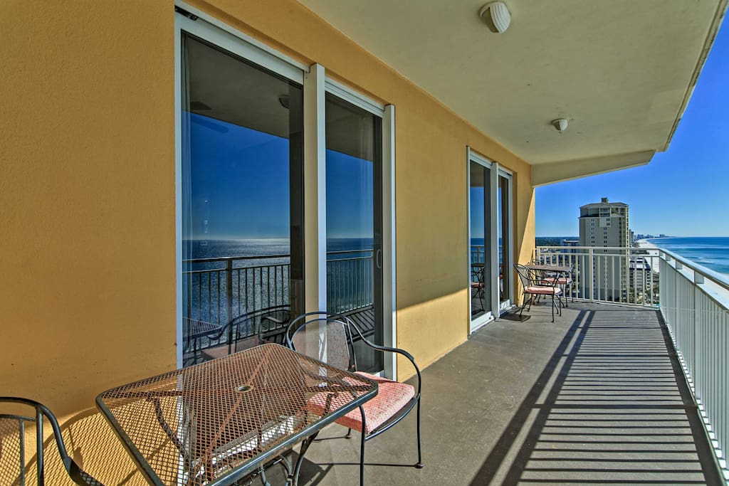 Up to 8 lucky travelers will enjoy the gulf views from this 12th-floor unit's private balcony.