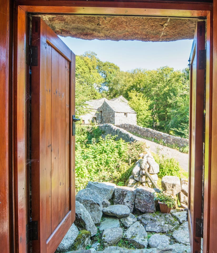 Views of 17th century packhorse bridge from the bedroom