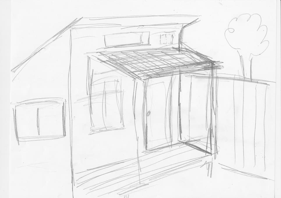 The initial sketch for the cabin, which is pretty accurate!