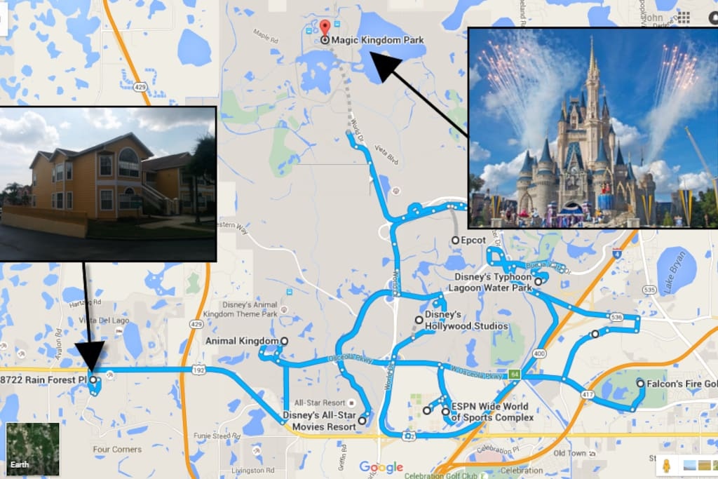 Perfect Location-10 min to Disney! (hear the Fireworks from inside the condo!!!) **Diamond Celebration - Paint the Night FireWorks 9:15pm Every Night!  Majic Kingdom-Epcot-Animal Kingdom, Disney Springs, ESPN, Typhoon Lagoon - Blizzard Beach WaterParks Golf+ / SeaWorld / Universal Studios /Florida and Millenia Malls / Outlet Malls Etc.