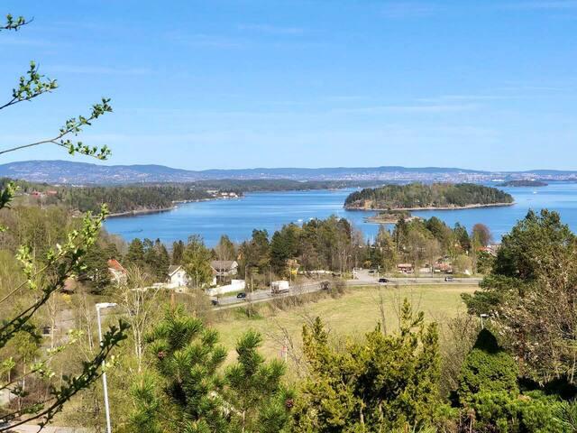 Utsikt over badeplass ved Oslofjorden