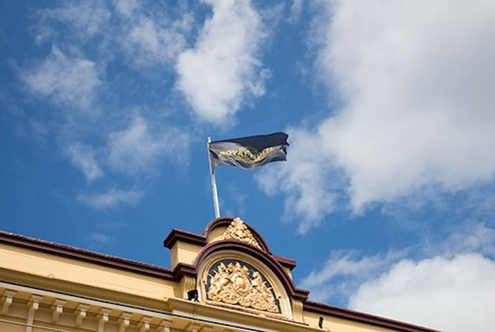 The Royal Hotel flag flying high over Featherston