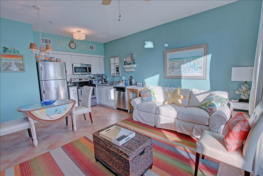 Open Living Room with Plush Coastal Furniture