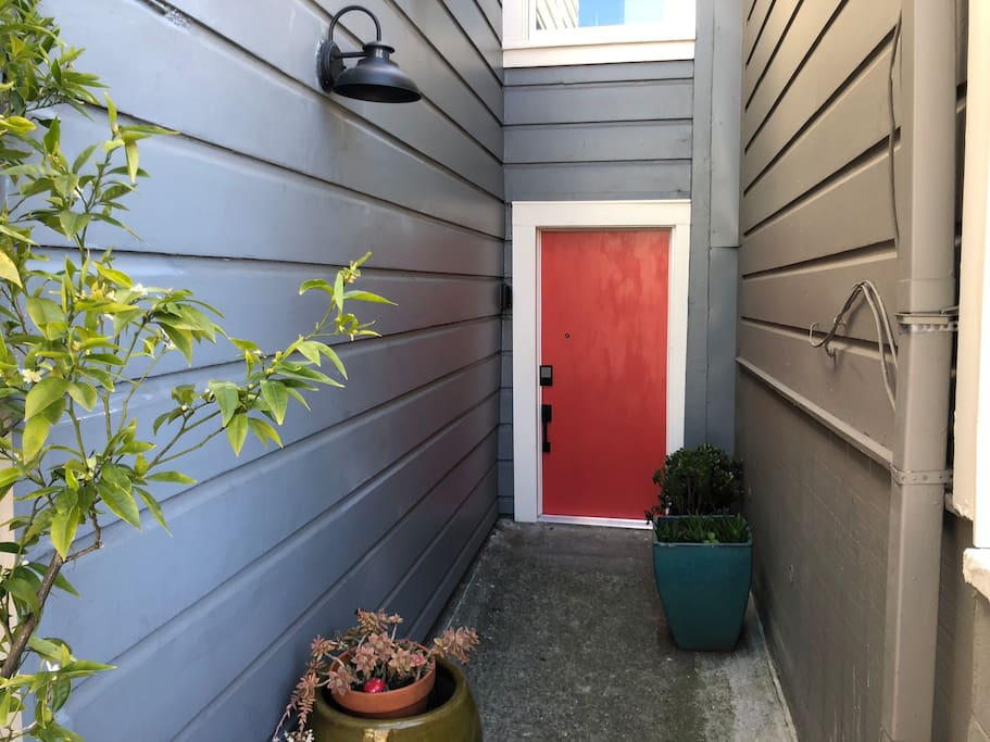 """Your private street-level entrance is just half a block from Bernal Village's """"main street"""", Cortland Avenue."""