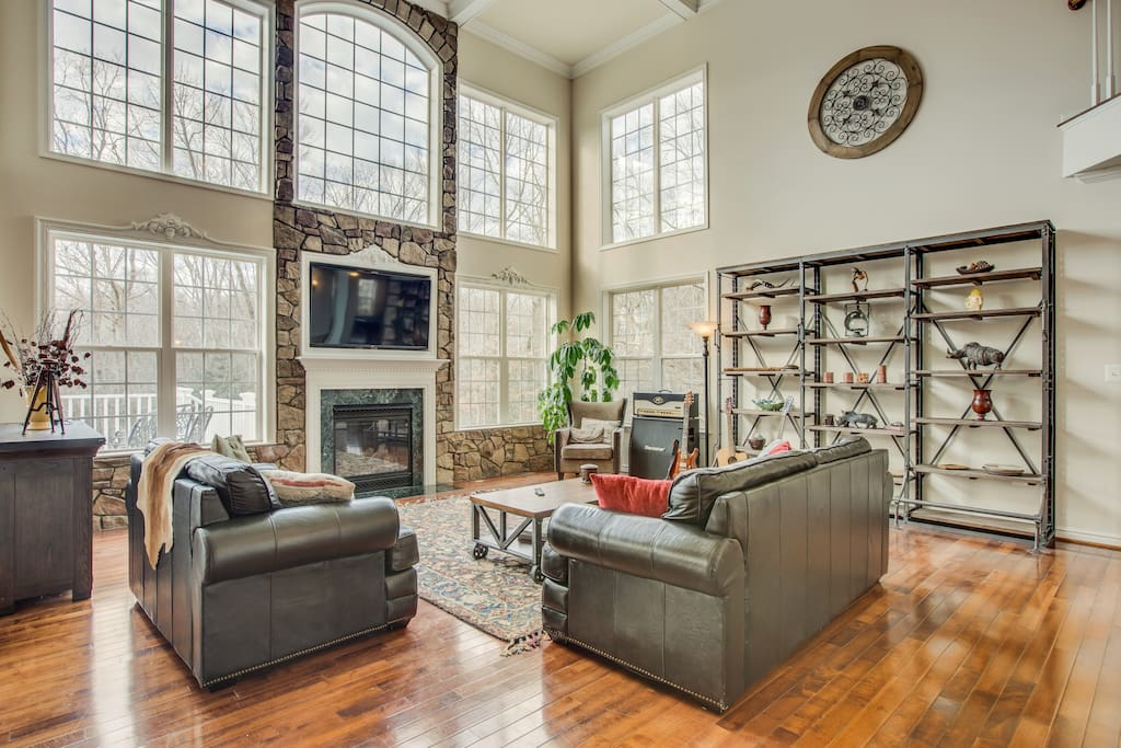 Unwind from a long day in this eclectic living room.