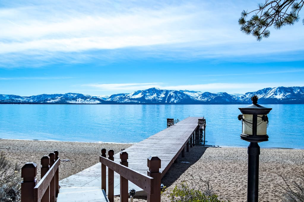 Private beach pier w/walkway to Lake Tahoe