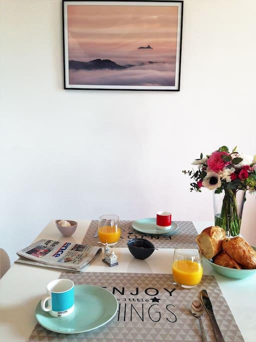 A disposition dans la cuisine, vous trouverez de quoi vous régalez pour le petit-déjeuner.