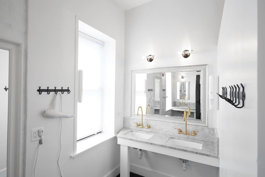 Our clean shared bathrooms.