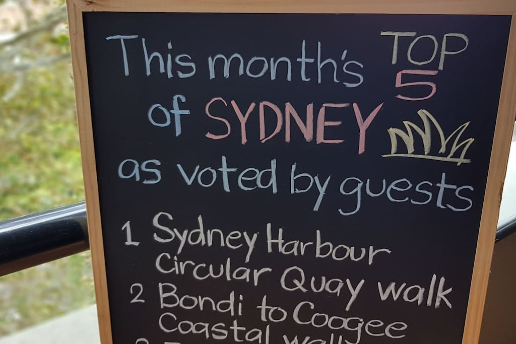Tips and travels notice board updated monthly on the Top 5 of Sydney voted by guests!