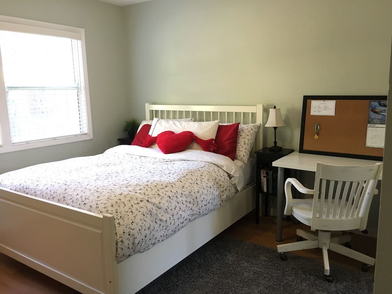 Private Room with a comfy Queen Bed, TV with Plenty of premium channels and networks.