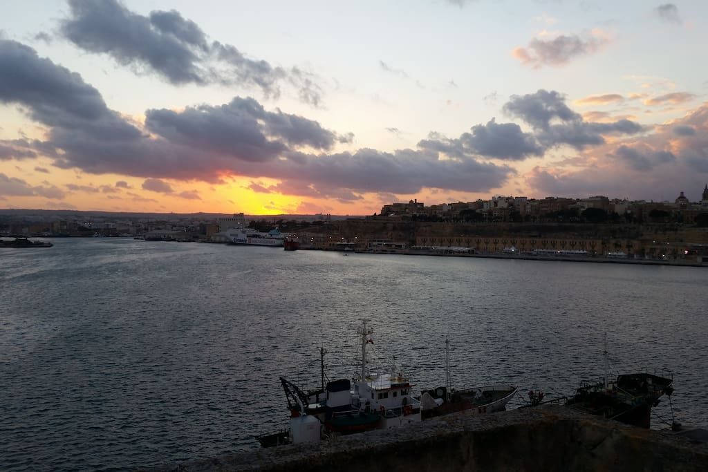View from the roof terrace over the bay and Valetta