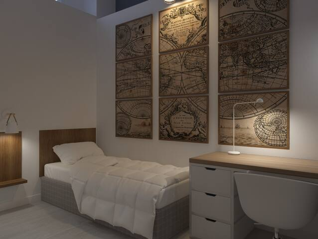 Habitación individual. Se puede añadir una segunda cama