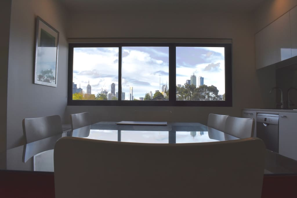 Dining area with city views