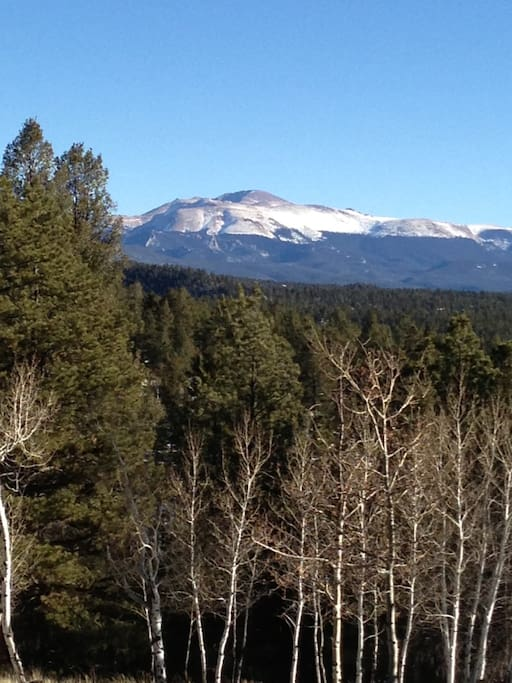 Morning view of Pike's Peak from the bed in the loft.  Now this is how to wake up.  Even better in person.