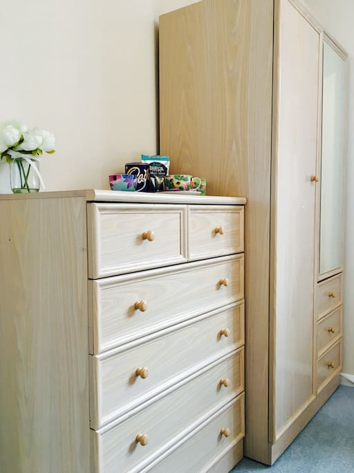 Exclusive use of wardrobe and chest of drawers