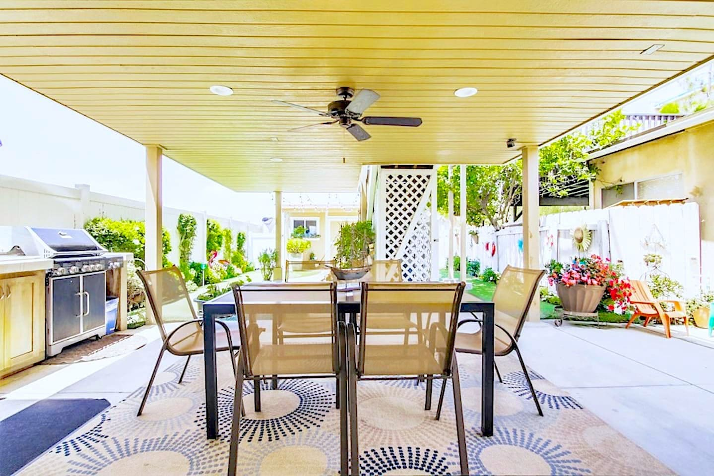 This is the definition of California outdoor living with this patio/grill setup!