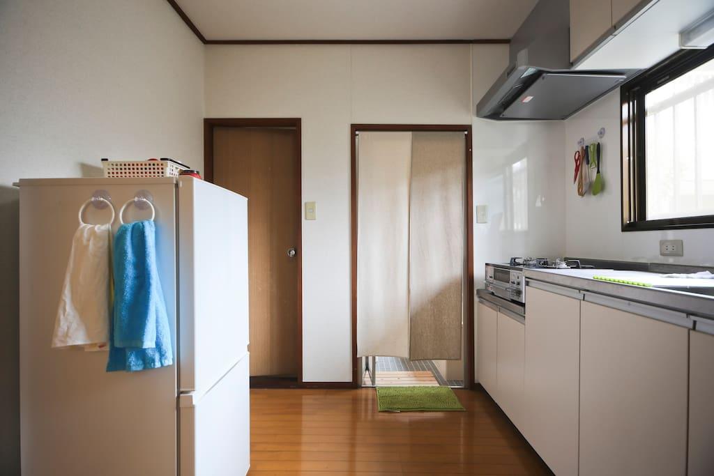 Right door: bath room, Left door: toilet