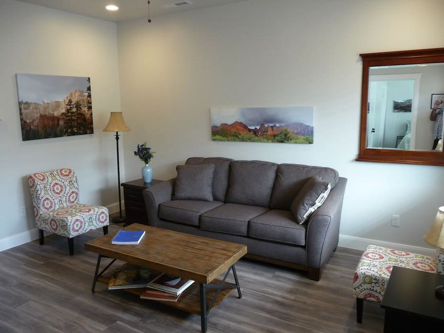 The living room is simply decorated, but homey and a great place to relax