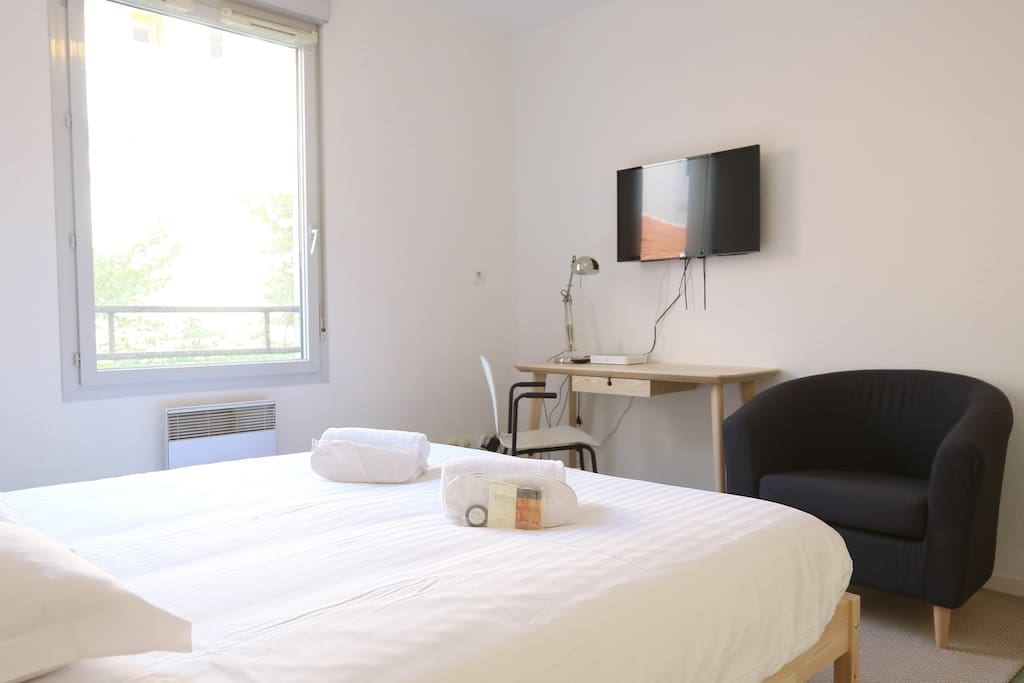 Bright room with a double bed and a flatscreen television