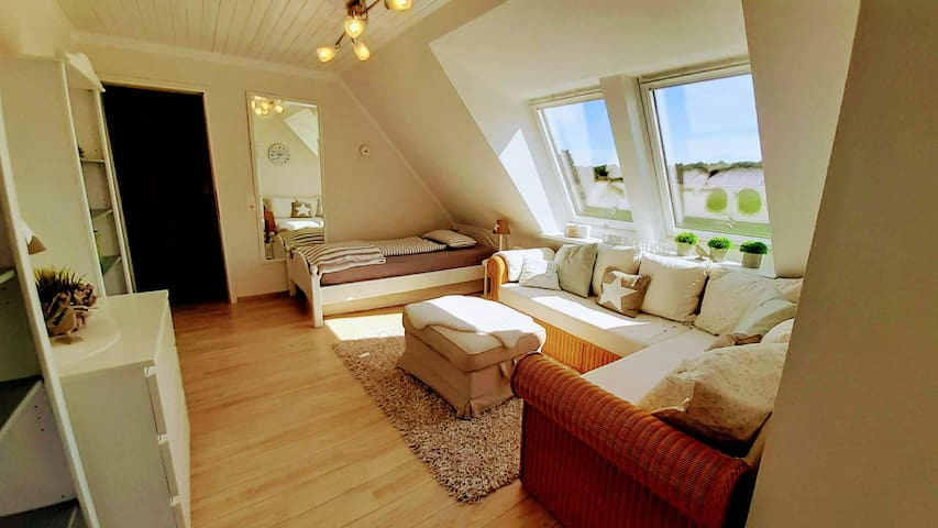 Helles Wohn- und Schlafzimmer.   Bright living room and bedroom.
