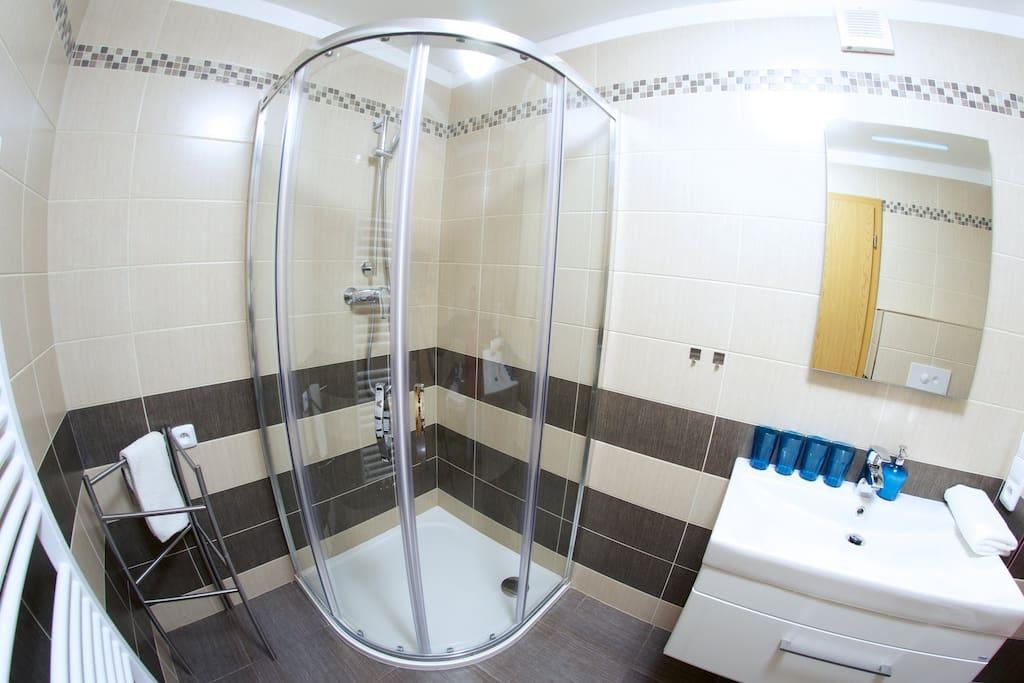 modern washroom with universal electric plug