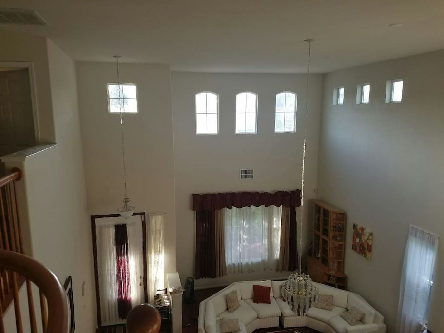 High ceiling living area