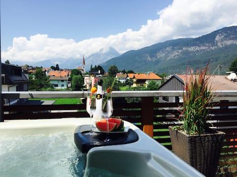 Luxus Apartment inmitten der Berge mit Whirlpool