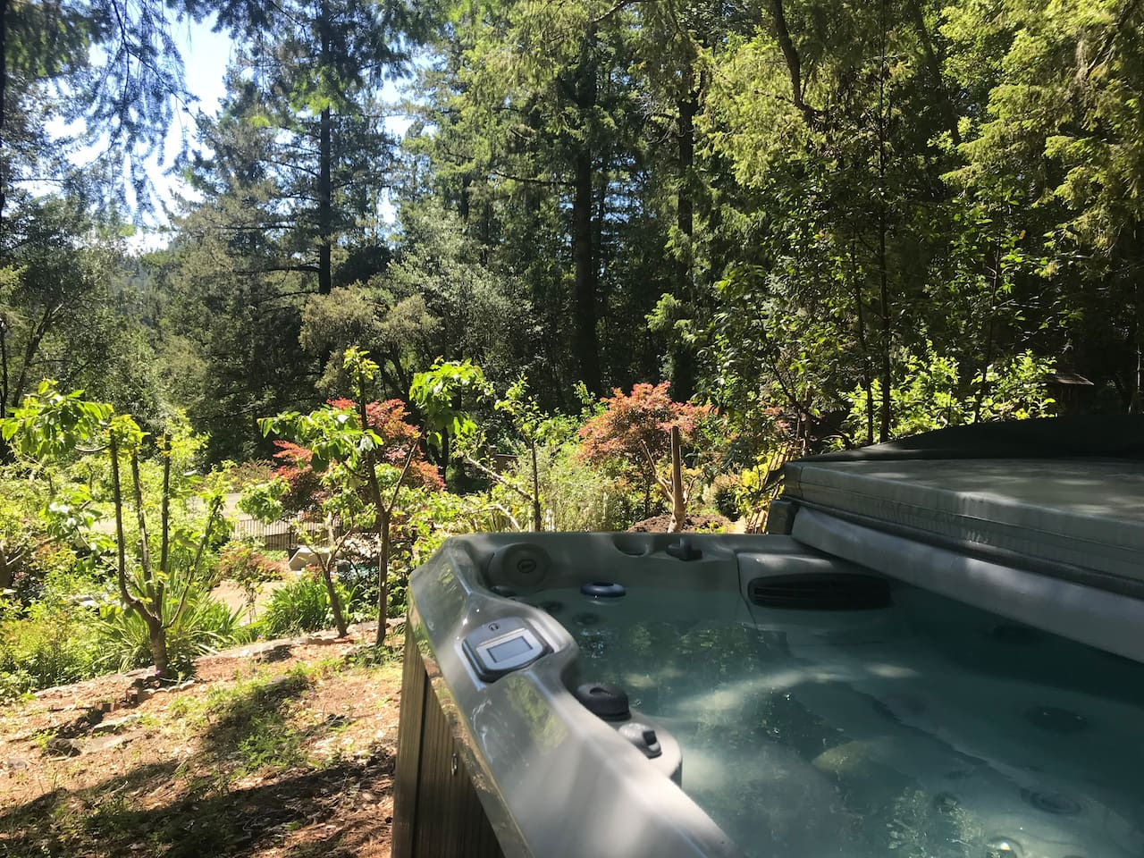 Private hot tub over looking the garden.  Sport massage jets, feels like a professional massage